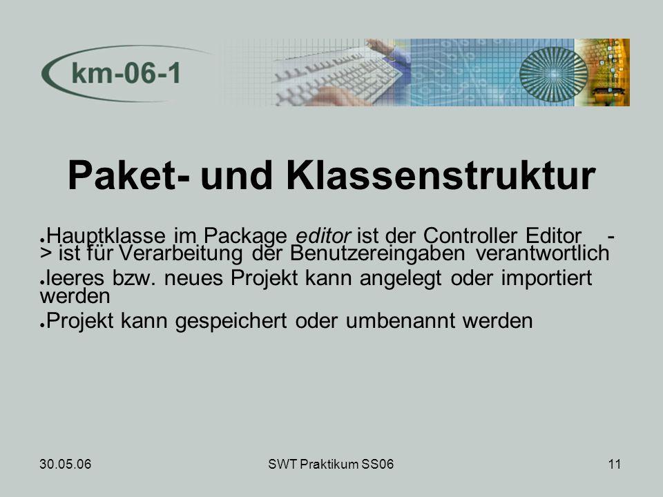 30.05.06SWT Praktikum SS0612 Paket- und Klassenstruktur editor