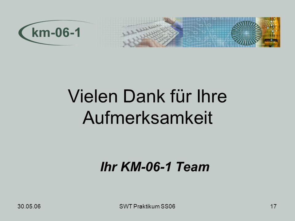 30.05.06SWT Praktikum SS0617 Vielen Dank für Ihre Aufmerksamkeit Ihr KM-06-1 Team
