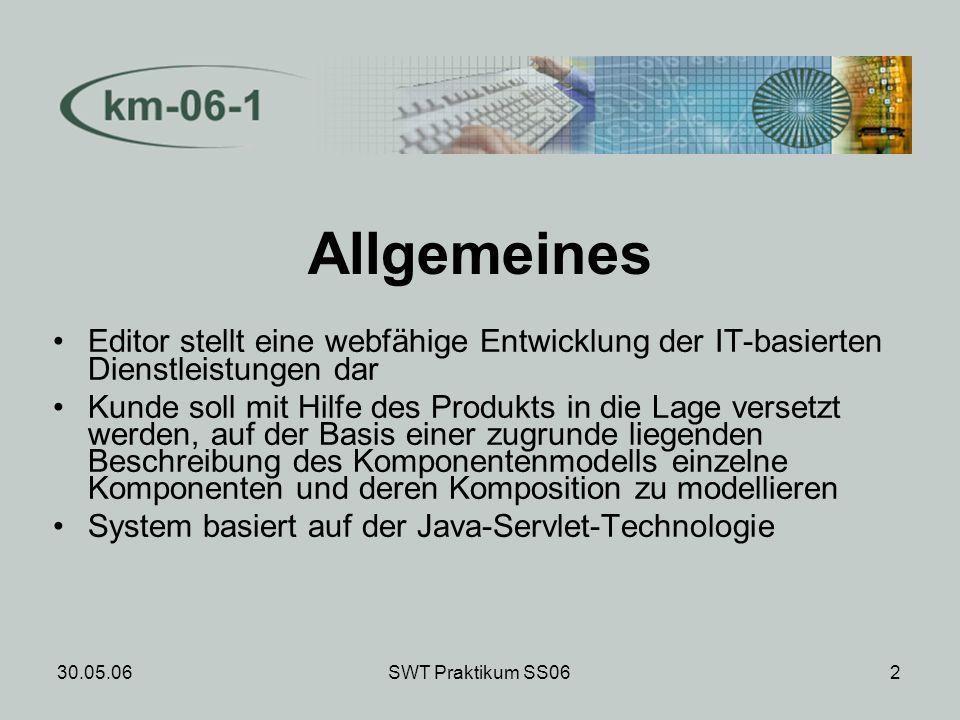 30.05.06SWT Praktikum SS062 Allgemeines Editor stellt eine webfähige Entwicklung der IT-basierten Dienstleistungen dar Kunde soll mit Hilfe des Produkts in die Lage versetzt werden, auf der Basis einer zugrunde liegenden Beschreibung des Komponentenmodells einzelne Komponenten und deren Komposition zu modellieren System basiert auf der Java-Servlet-Technologie