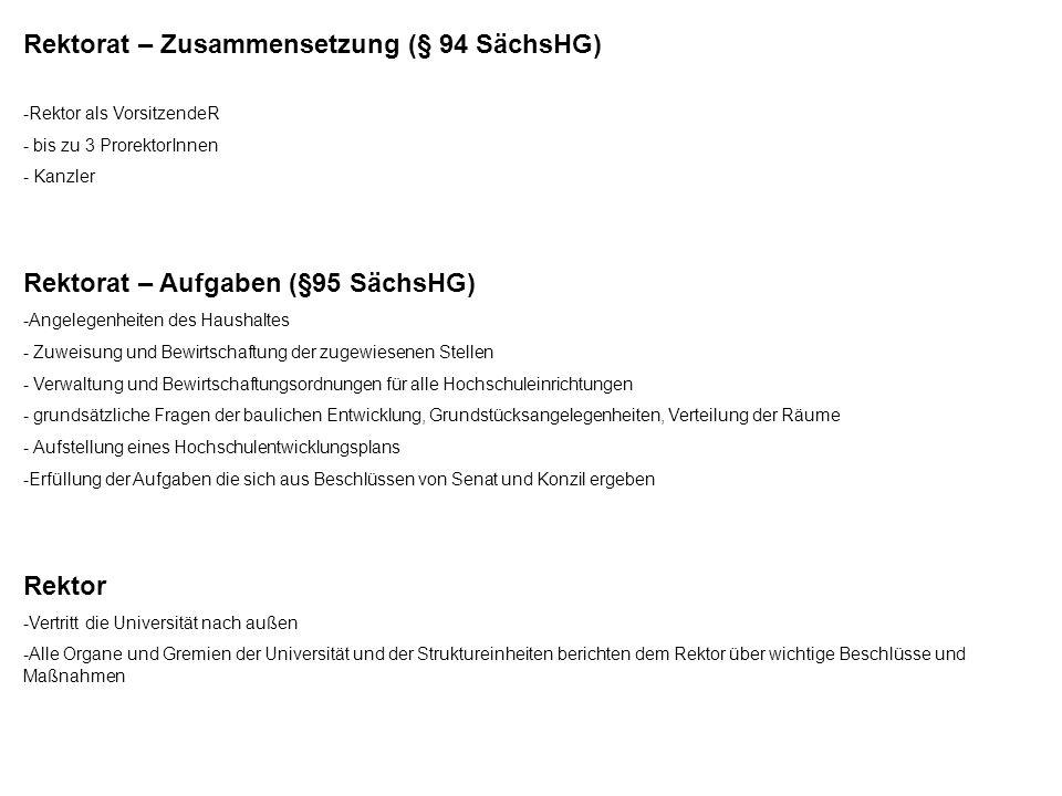 Rektorat – Zusammensetzung (§ 94 SächsHG) -Rektor als VorsitzendeR - bis zu 3 ProrektorInnen - Kanzler Rektorat – Aufgaben (§95 SächsHG) -Angelegenhei