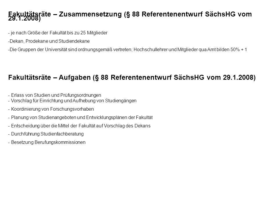 Fakultätsräte – Zusammensetzung (§ 88 Referentenentwurf SächsHG vom 29.1.2008) - je nach Größe der Fakultät bis zu 25 Mitglieder -Dekan, Prodekane und