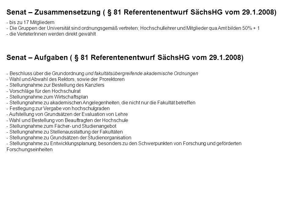 Senat – Zusammensetzung ( § 81 Referentenentwurf SächsHG vom 29.1.2008) - bis zu 17 Mitgliedern - Die Gruppen der Universität sind ordnungsgemäß vertr
