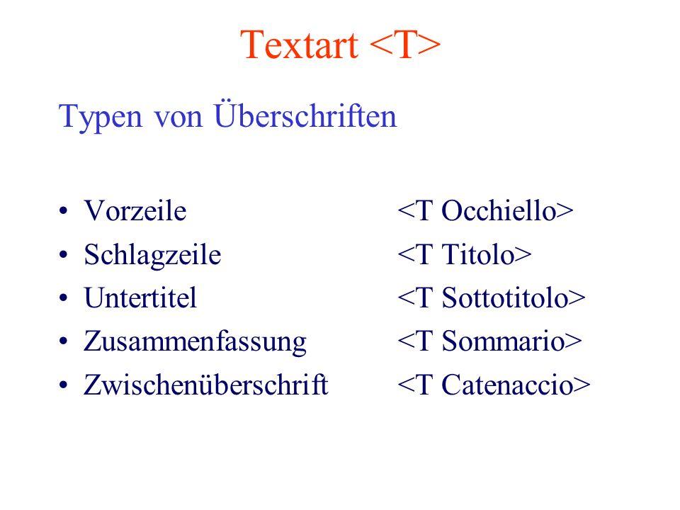 Textart Typen von Überschriften Vorzeile Schlagzeile Untertitel Zusammenfassung Zwischenüberschrift