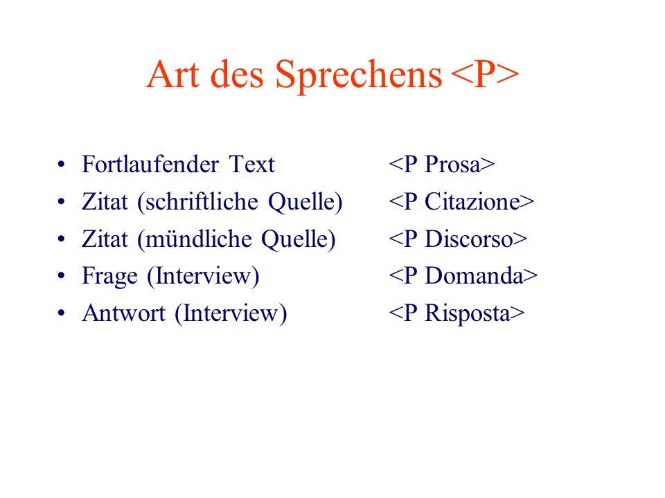 Art des Sprechens Fortlaufender Text Zitat (schriftliche Quelle) Zitat (mündliche Quelle) Frage (Interview) Antwort (Interview)