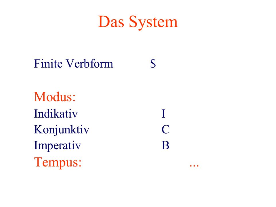 Das System Finite Verbform$ Modus: IndikativI KonjunktivC ImperativB Tempus:...
