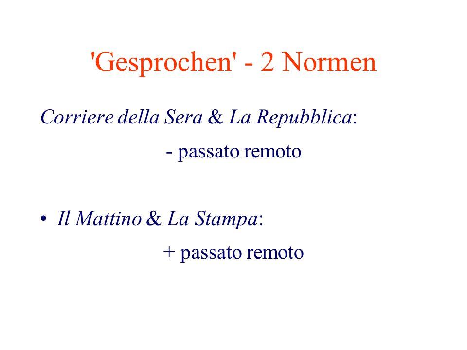 'Gesprochen' - 2 Normen Corriere della Sera & La Repubblica: - passato remoto Il Mattino & La Stampa: + passato remoto