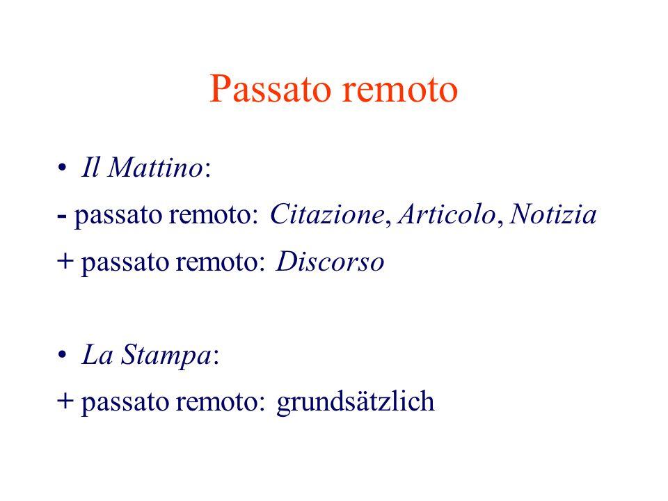 Passato remoto Il Mattino: - passato remoto: Citazione, Articolo, Notizia + passato remoto: Discorso La Stampa: + passato remoto: grundsätzlich