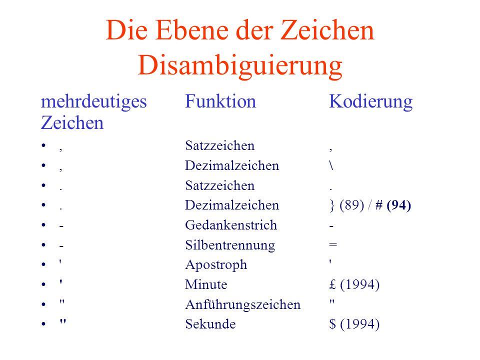 Die Ebene der Zeichen Disambiguierung mehrdeutigesFunktionKodierung Zeichen,Satzzeichen,, Dezimalzeichen\.Satzzeichen..Dezimalzeichen} (89) / # (94) -