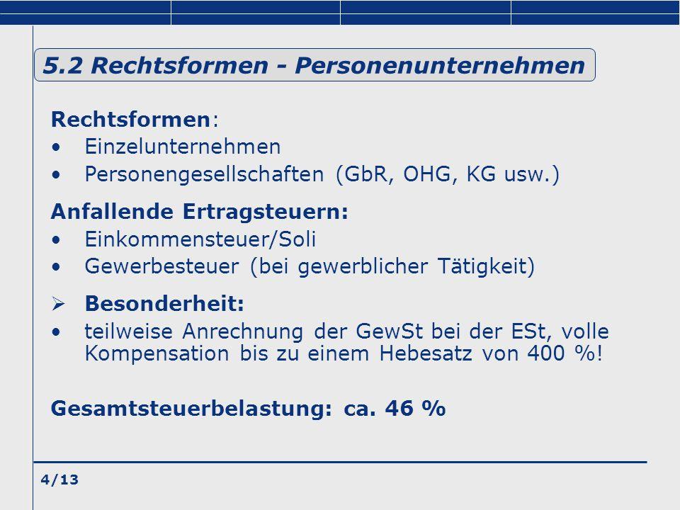 4/13 Rechtsformen: Einzelunternehmen Personengesellschaften (GbR, OHG, KG usw.) Anfallende Ertragsteuern: Einkommensteuer/Soli Gewerbesteuer (bei gewe
