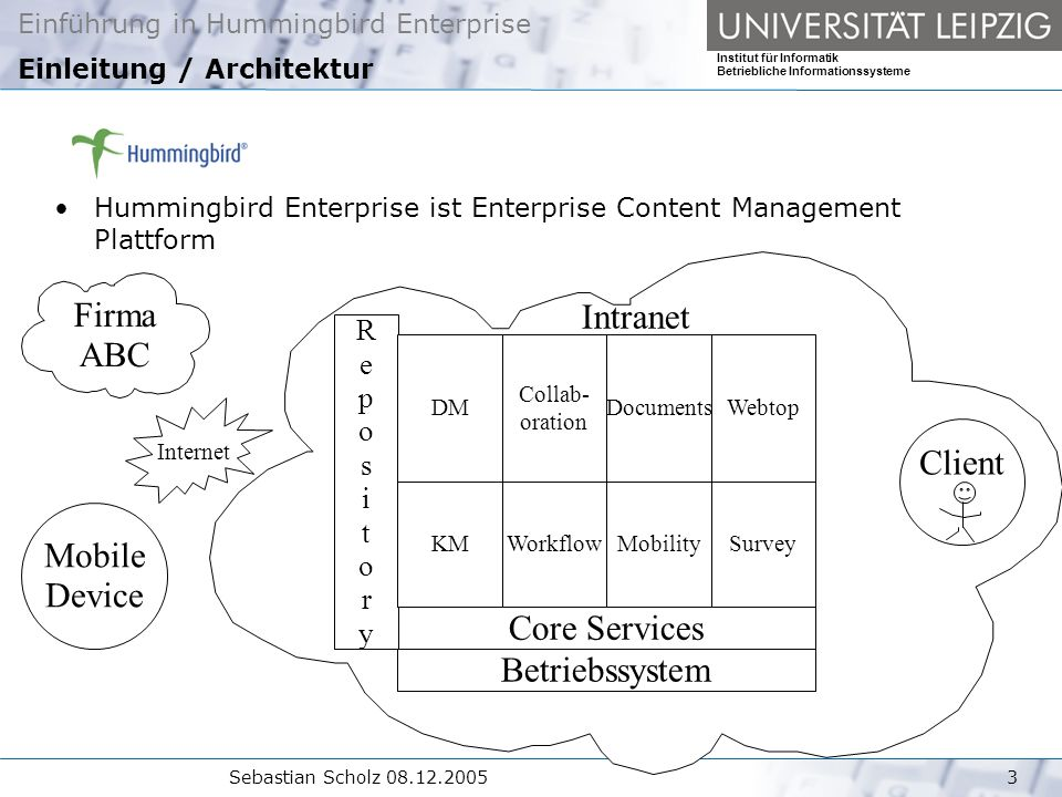 Einführung in Hummingbird Enterprise Institut für Informatik Betriebliche Informationssysteme Sebastian Scholz Einleitung / Architektur Hummingbird Enterprise ist Enterprise Content Management Plattform Intranet Firma ABC Client Betriebssystem Core Services RepositoryRepository SurveyMobilityWorkflowKM DM Collab- oration DocumentsWebtop Mobile Device Internet