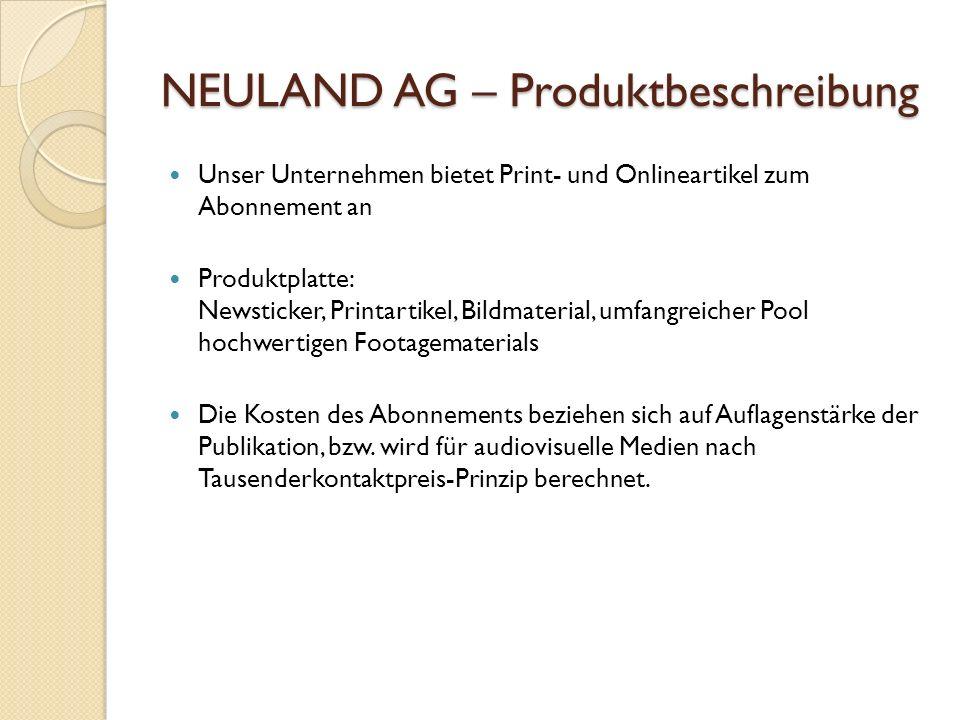 NEULAND AG – Produktbeschreibung Unser Unternehmen bietet Print- und Onlineartikel zum Abonnement an Produktplatte: Newsticker, Printartikel, Bildmate