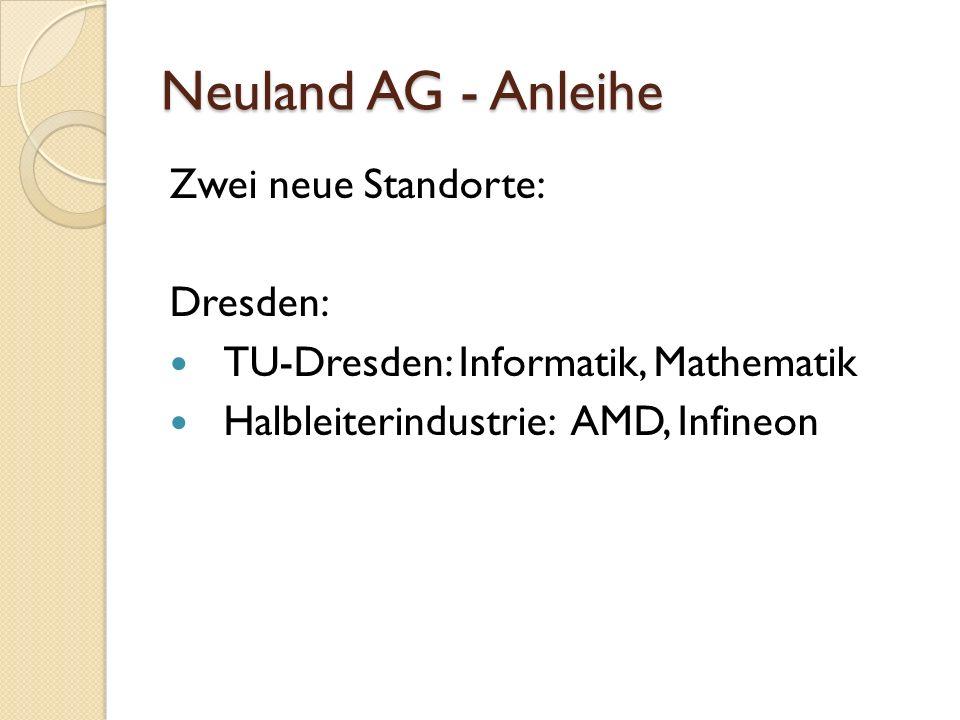 Neuland AG - Anleihe Zwei neue Standorte: Dresden: TU-Dresden: Informatik, Mathematik Halbleiterindustrie: AMD, Infineon