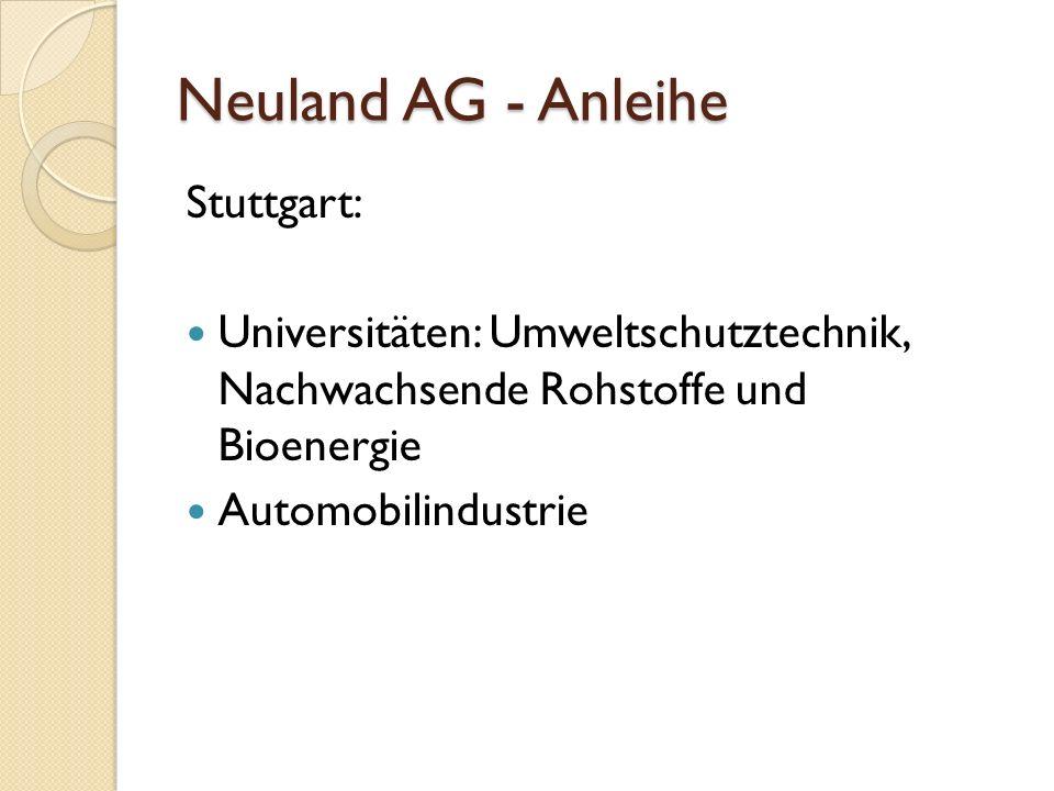 Neuland AG - Anleihe Stuttgart: Universitäten: Umweltschutztechnik, Nachwachsende Rohstoffe und Bioenergie Automobilindustrie
