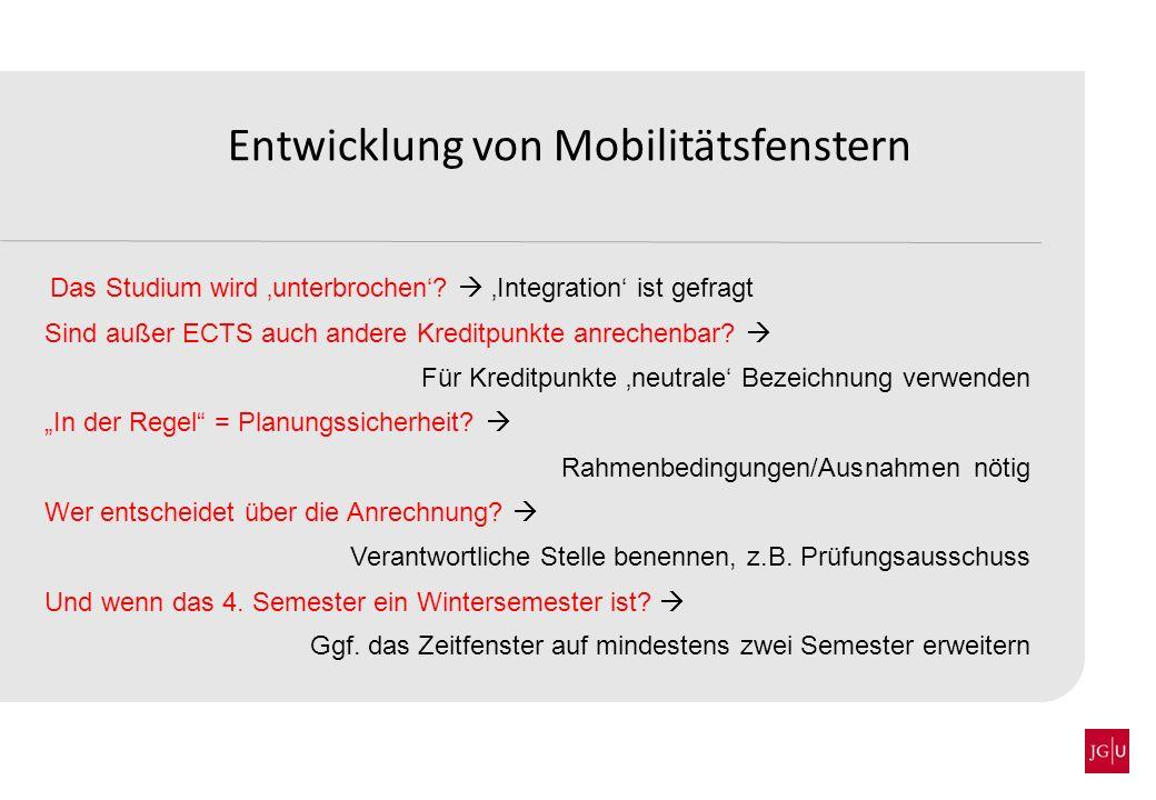 Entwicklung von Mobilitätsfenstern Ein Auslandssemester – in der Regel im 5.