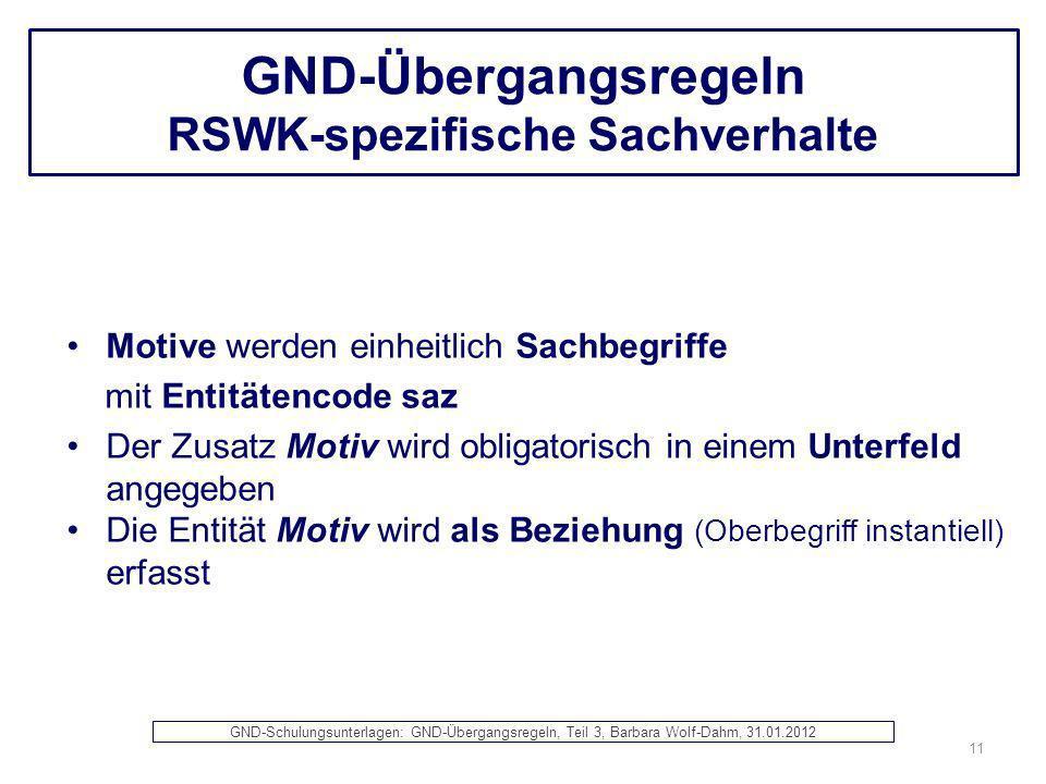 GND-Übergangsregeln RSWK-spezifische Sachverhalte Motive werden einheitlich Sachbegriffe mit Entitätencode saz Der Zusatz Motiv wird obligatorisch in