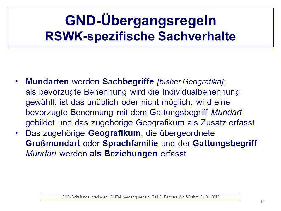 GND-Übergangsregeln RSWK-spezifische Sachverhalte Mundarten werden Sachbegriffe [bisher Geografika] ; als bevorzugte Benennung wird die Individualbene