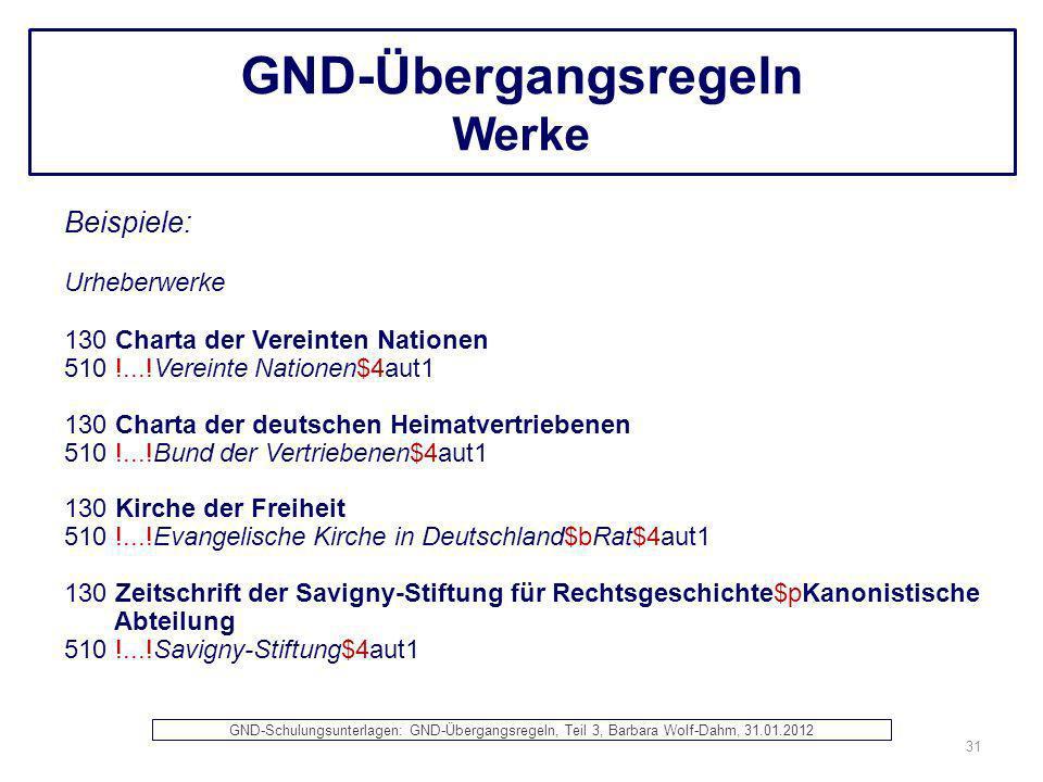 GND-Übergangsregeln Werke Beispiele: Urheberwerke 130 Charta der Vereinten Nationen 510 !...!Vereinte Nationen$4aut1 130 Charta der deutschen Heimatve