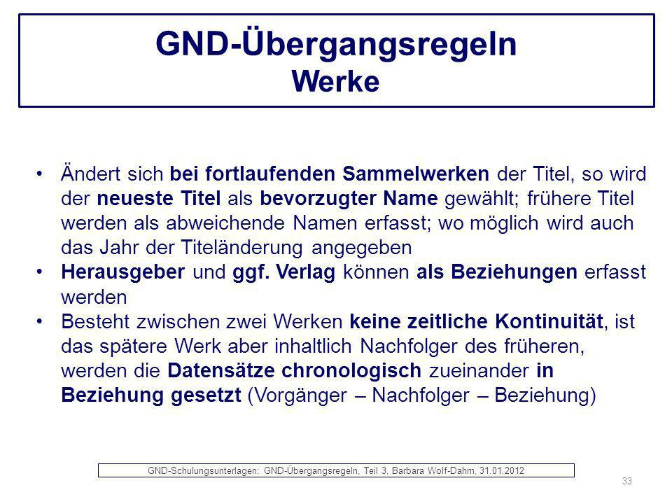 GND-Übergangsregeln Werke Ändert sich bei fortlaufenden Sammelwerken der Titel, so wird der neueste Titel als bevorzugter Name gewählt; frühere Titel