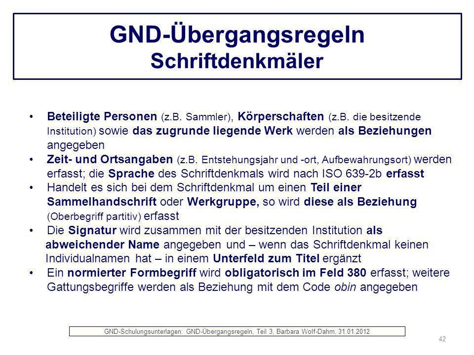 GND-Übergangsregeln Schriftdenkmäler Beteiligte Personen (z.B. Sammler), Körperschaften (z.B. die besitzende Institution) sowie das zugrunde liegende