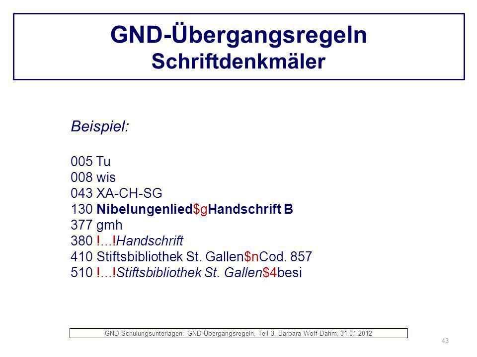 GND-Übergangsregeln Schriftdenkmäler Beispiel: 005 Tu 008 wis 043 XA-CH-SG 130 Nibelungenlied$gHandschrift B 377 gmh 380 !...!Handschrift 410 Stiftsbi