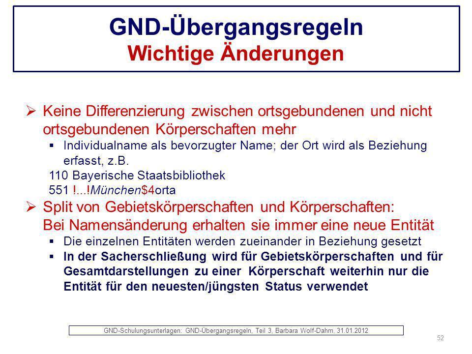 GND-Übergangsregeln Wichtige Änderungen Keine Differenzierung zwischen ortsgebundenen und nicht ortsgebundenen Körperschaften mehr Individualname als