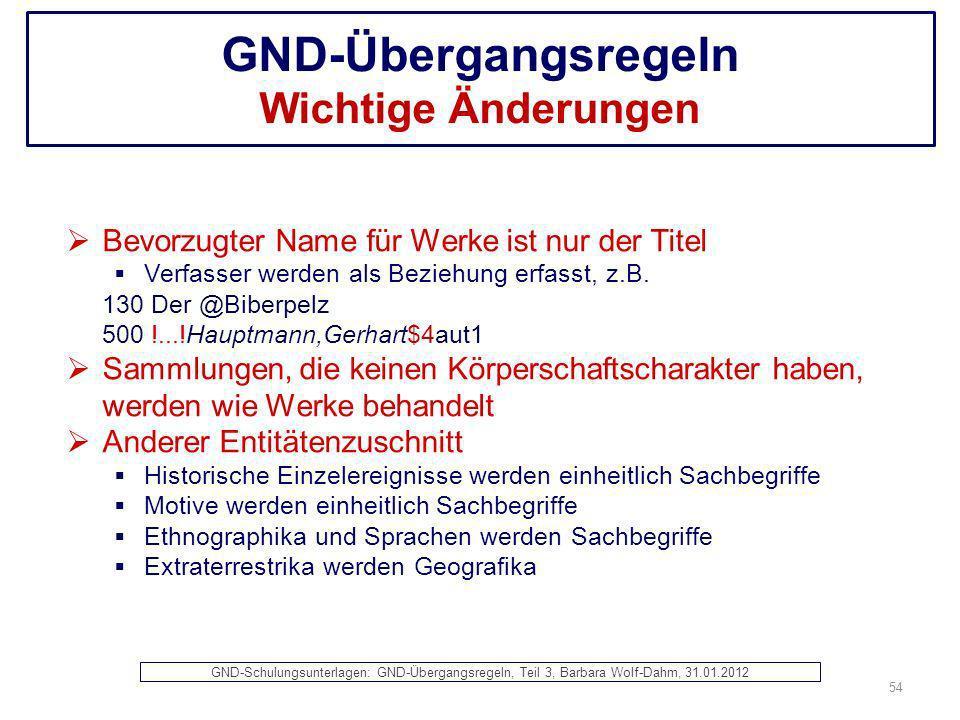 GND-Übergangsregeln Wichtige Änderungen Bevorzugter Name für Werke ist nur der Titel Verfasser werden als Beziehung erfasst, z.B. 130 Der @Biberpelz 5