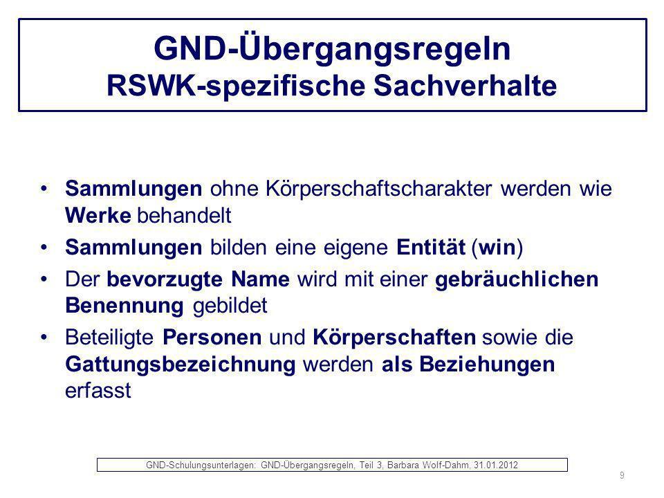 GND-Übergangsregeln RSWK-spezifische Sachverhalte Sammlungen ohne Körperschaftscharakter werden wie Werke behandelt Sammlungen bilden eine eigene Enti