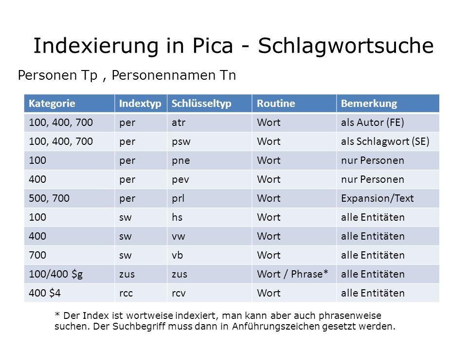 Indexierung in Pica - Schlagwortsuche Personen Tp, Personennamen Tn KategorieIndextypSchlüsseltypRoutineBemerkung 100, 400, 700peratrWortals Autor (FE