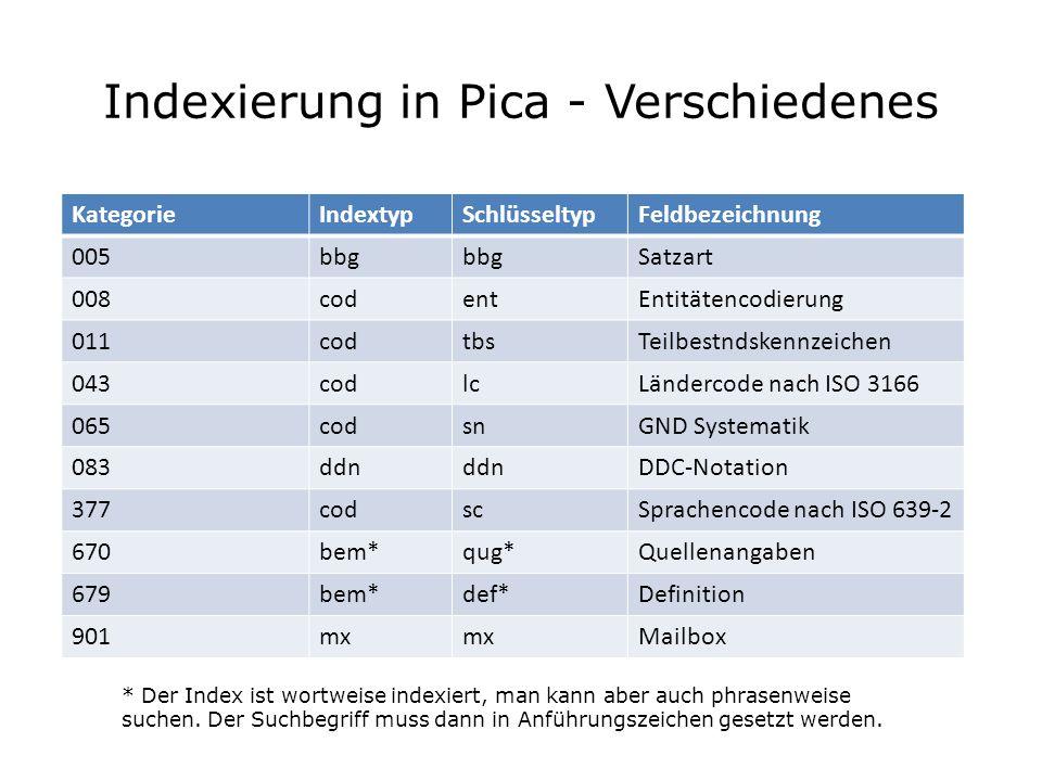 Indexierung in Pica - Verschiedenes KategorieIndextypSchlüsseltypFeldbezeichnung 005bbg Satzart 008codentEntitätencodierung 011codtbsTeilbestndskennze