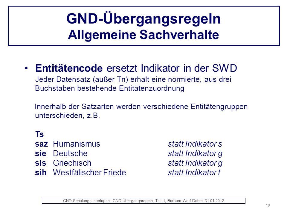 GND-Übergangsregeln Allgemeine Sachverhalte Entitätencode ersetzt Indikator in der SWD Jeder Datensatz (außer Tn) erhält eine normierte, aus drei Buch