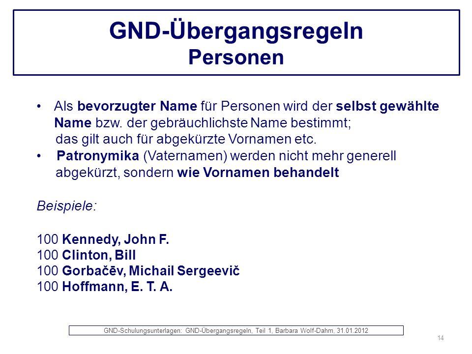 GND-Übergangsregeln Personen Als bevorzugter Name für Personen wird der selbst gewählte Name bzw. der gebräuchlichste Name bestimmt; das gilt auch für
