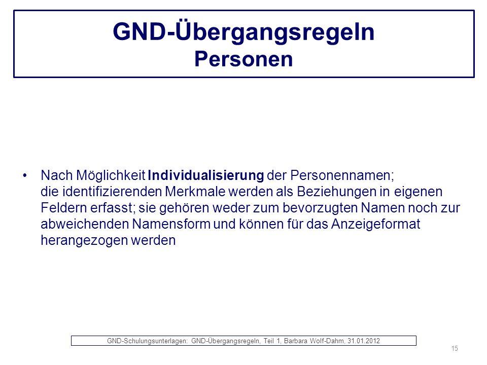 GND-Übergangsregeln Personen Nach Möglichkeit Individualisierung der Personennamen; die identifizierenden Merkmale werden als Beziehungen in eigenen F