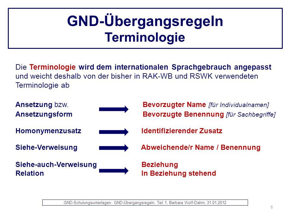 GND-Übergangsregeln Terminologie Die Terminologie wird dem internationalen Sprachgebrauch angepasst und weicht deshalb von der bisher in RAK-WB und RS