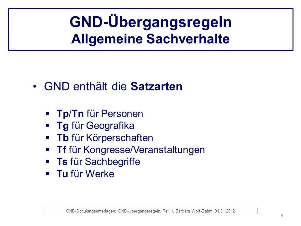 GND-Übergangsregeln Allgemeine Sachverhalte GND enthält die Satzarten Tp/Tn für Personen Tg für Geografika Tb für Körperschaften Tf für Kongresse/Vera
