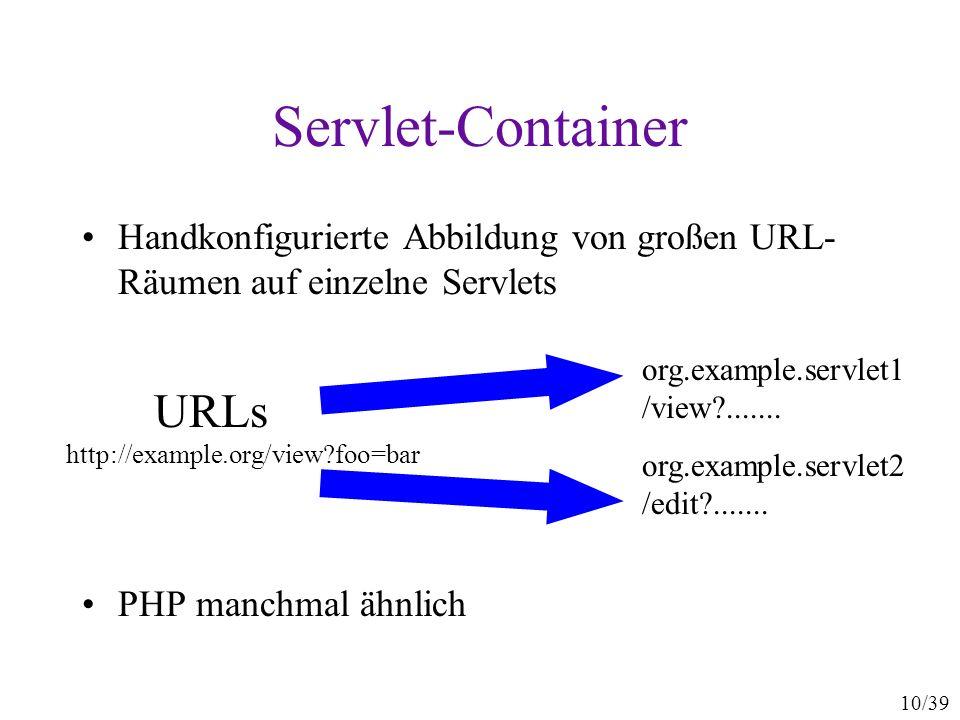 10/39 Servlet-Container Handkonfigurierte Abbildung von großen URL- Räumen auf einzelne Servlets PHP manchmal ähnlich org.example.servlet1 /view .......