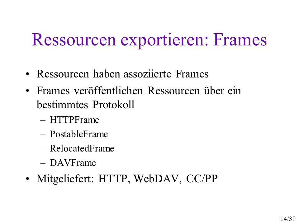 14/39 Ressourcen exportieren: Frames Ressourcen haben assoziierte Frames Frames veröffentlichen Ressourcen über ein bestimmtes Protokoll –HTTPFrame –PostableFrame –RelocatedFrame –DAVFrame Mitgeliefert: HTTP, WebDAV, CC/PP