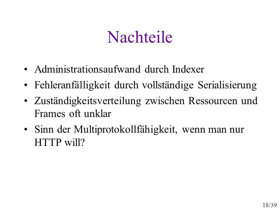 18/39 Nachteile Administrationsaufwand durch Indexer Fehleranfälligkeit durch vollständige Serialisierung Zuständigkeitsverteilung zwischen Ressourcen und Frames oft unklar Sinn der Multiprotokollfähigkeit, wenn man nur HTTP will