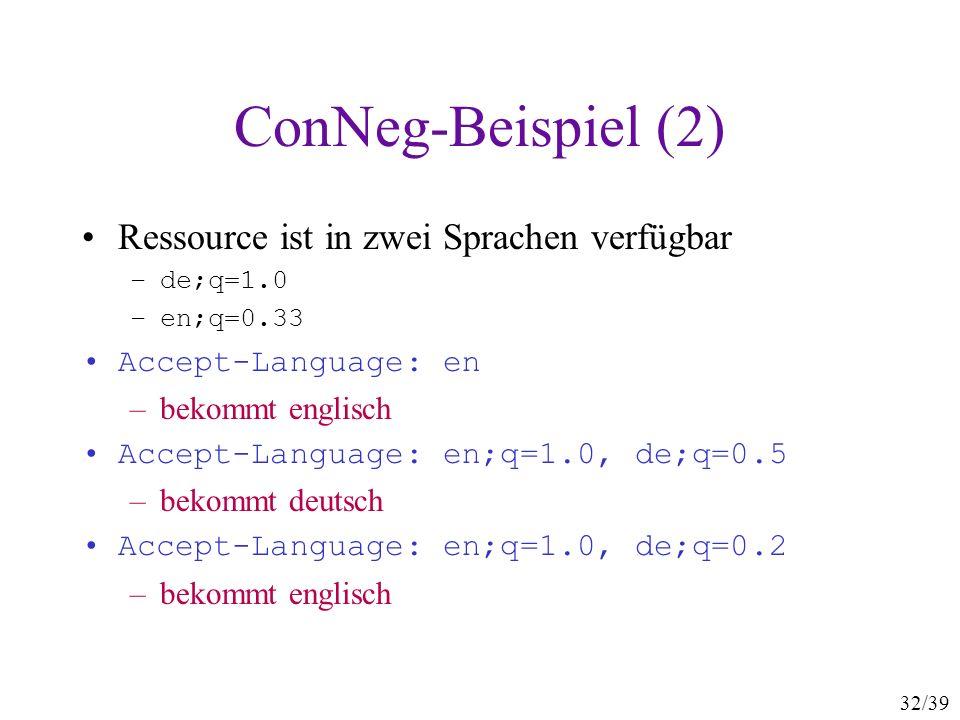 32/39 ConNeg-Beispiel (2) Ressource ist in zwei Sprachen verfügbar –de;q=1.0 –en;q=0.33 Accept-Language: en –bekommt englisch Accept-Language: en;q=1.0, de;q=0.5 –bekommt deutsch Accept-Language: en;q=1.0, de;q=0.2 –bekommt englisch