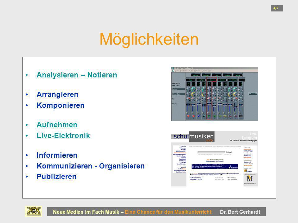 Möglichkeiten Analysieren – Notieren Arrangieren Komponieren Aufnehmen Live-Elektronik Informieren Kommunizieren - Organisieren Publizieren Neue Medie