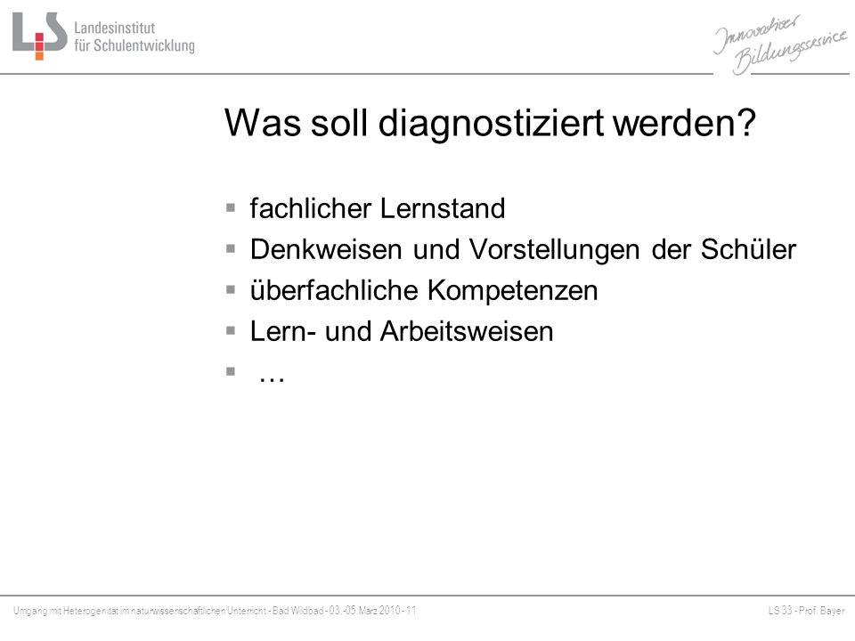 Umgang mit Heterogenität im naturwissenschaftlichen Unterricht - Bad Wildbad - 03.-05.März 2010 - 11LS 33 - Prof. Bayer Platzhalter Was soll diagnosti
