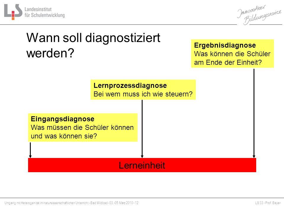 Umgang mit Heterogenität im naturwissenschaftlichen Unterricht - Bad Wildbad - 03.-05.März 2010 - 12LS 33 - Prof. Bayer Platzhalter Wann soll diagnost
