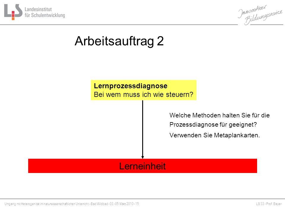 Umgang mit Heterogenität im naturwissenschaftlichen Unterricht - Bad Wildbad - 03.-05.März 2010 - 15LS 33 - Prof. Bayer Platzhalter Arbeitsauftrag 2 L