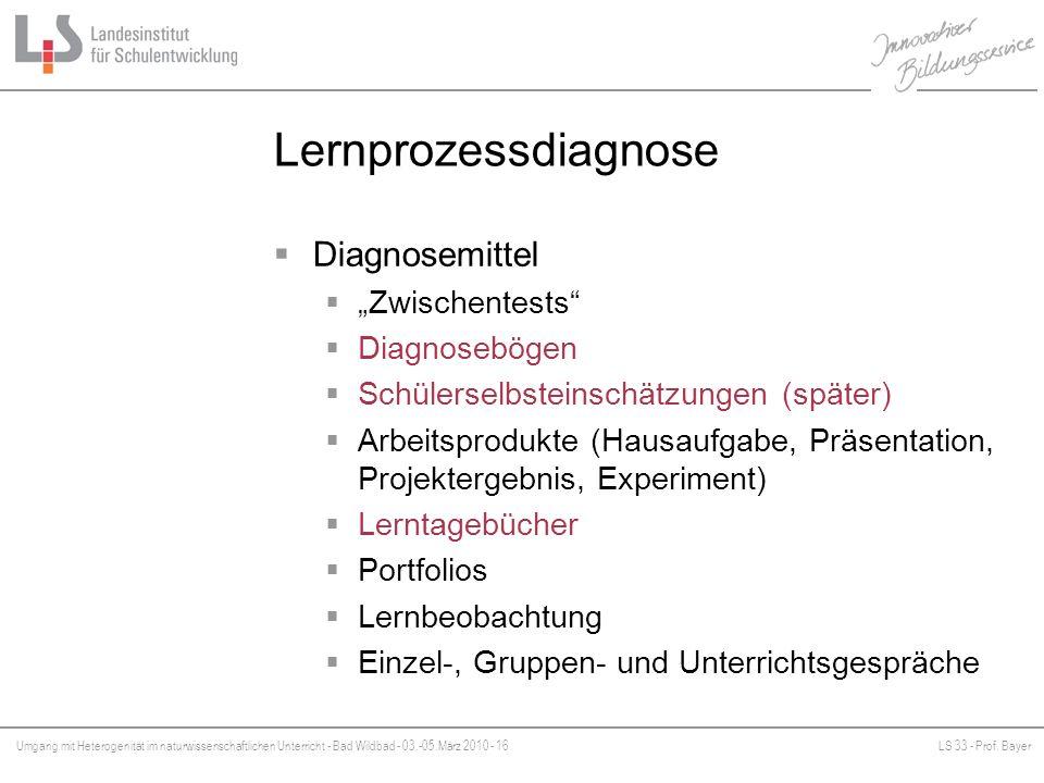 Umgang mit Heterogenität im naturwissenschaftlichen Unterricht - Bad Wildbad - 03.-05.März 2010 - 16LS 33 - Prof. Bayer Platzhalter Lernprozessdiagnos