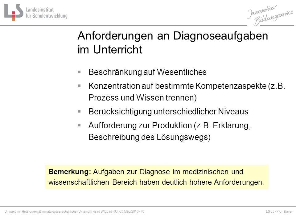 Umgang mit Heterogenität im naturwissenschaftlichen Unterricht - Bad Wildbad - 03.-05.März 2010 - 18LS 33 - Prof. Bayer Platzhalter Anforderungen an D