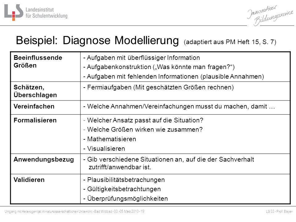 Umgang mit Heterogenität im naturwissenschaftlichen Unterricht - Bad Wildbad - 03.-05.März 2010 - 19LS 33 - Prof. Bayer Platzhalter Beispiel: Diagnose