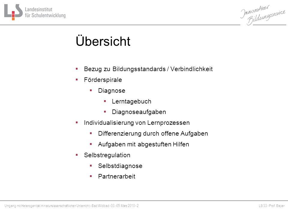 Umgang mit Heterogenität im naturwissenschaftlichen Unterricht - Bad Wildbad - 03.-05.März 2010 - 2LS 33 - Prof. Bayer Platzhalter Übersicht Bezug zu