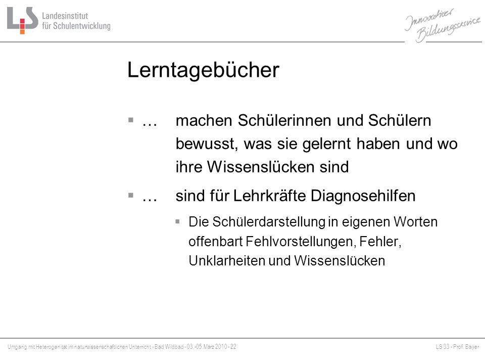 Umgang mit Heterogenität im naturwissenschaftlichen Unterricht - Bad Wildbad - 03.-05.März 2010 - 22LS 33 - Prof. Bayer Platzhalter Lerntagebücher … m