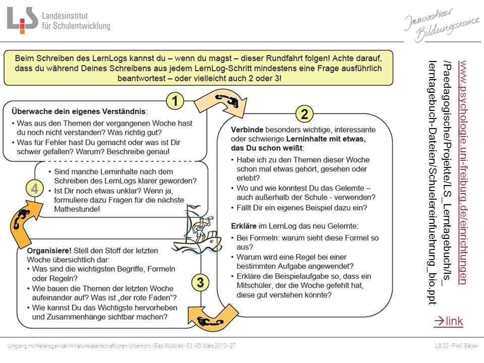 Umgang mit Heterogenität im naturwissenschaftlichen Unterricht - Bad Wildbad - 03.-05.März 2010 - 27LS 33 - Prof. Bayer Platzhalter www.psychologie.un