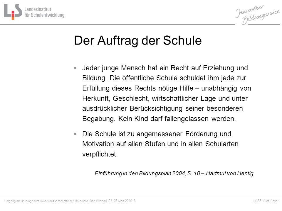 Umgang mit Heterogenität im naturwissenschaftlichen Unterricht - Bad Wildbad - 03.-05.März 2010 - 3LS 33 - Prof. Bayer Platzhalter Der Auftrag der Sch