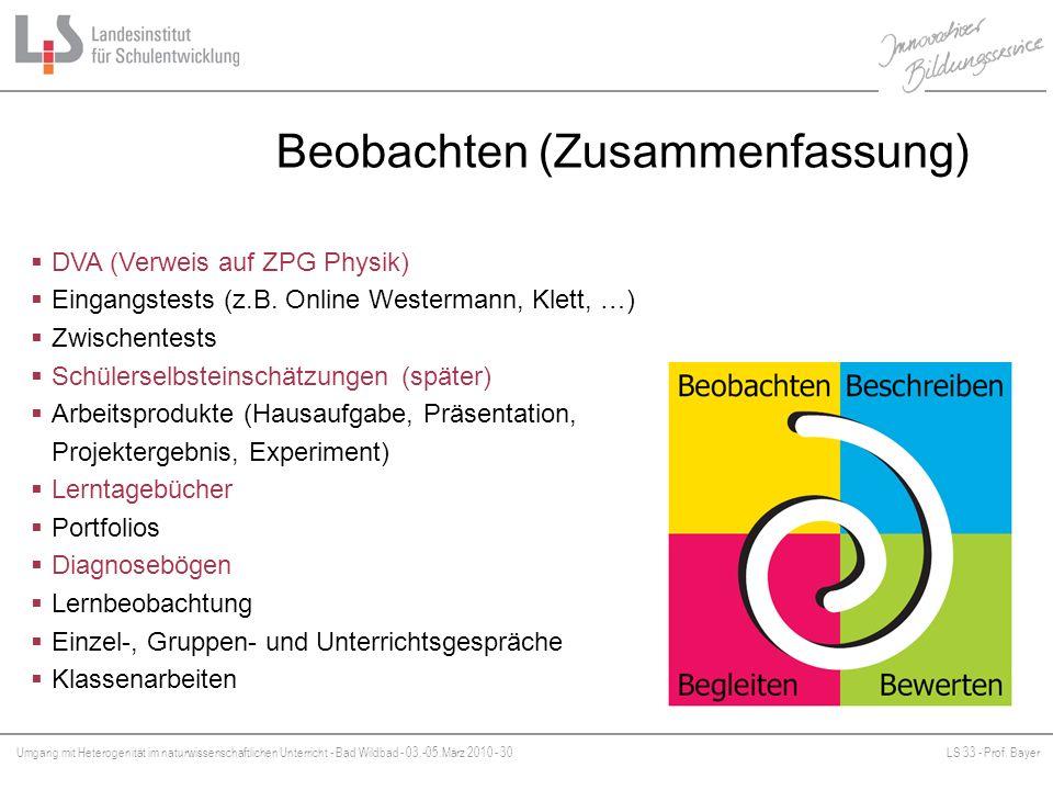 Umgang mit Heterogenität im naturwissenschaftlichen Unterricht - Bad Wildbad - 03.-05.März 2010 - 30LS 33 - Prof. Bayer Platzhalter Beobachten (Zusamm